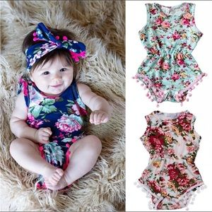 One Pieces - Floral Romper with Matching Head Band